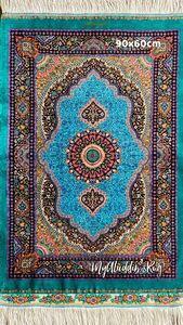 クム産 ペルシャ絨毯 100%シルク 90×60cm