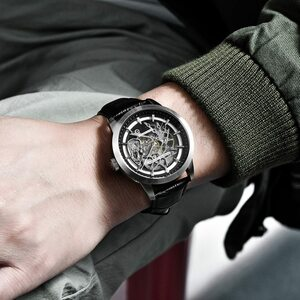 PAGANIDESIGNブランドホットセール2019スケルトンホローレザーメンズ腕時計高級メカニカル男性時計新しいRelogioMasculino