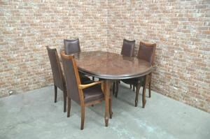 ◆◇f140-2 ヨーロピアン maruni マルニ ダイニングテーブルセット 5人掛け ダイニングチェア 食卓テーブル 椅子 伸縮式 猫脚 鋲打◇◆