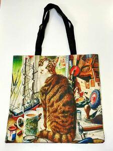 新品 猫 アートトートバッグ 【ジャマするニャンコ】A4 ショッピングバッグ エコバッグ レッスンバッグ 手提げ袋 送料無料