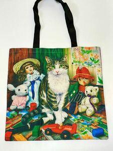 新品 猫 アートトートバッグ 【ぜーんぶ宝物ニャ】A4 ショッピングバッグ エコバッグ レッスンバッグ 手提げ袋 送料無料