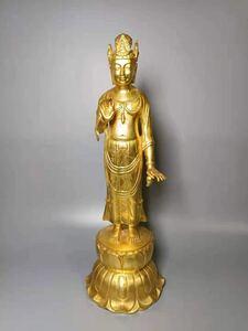 彫刻家 岸田陸象謹製 名家 銅造 彫刻 観音菩薩立像 高さ約38㎝ 仏教美術 古美術 観音 骨董 観音像
