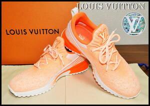 即完売 LOUIS VUITTON V.N.Rラインスニーカー オレンジ グラデーション ルイヴィトン LV ニット 靴 8 白 ベルト ランニング 美品 箱付き