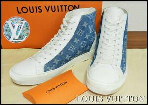 LOUIS VUITTON モノグラム デニムスニーカー 正規品 ルイヴィトン ブルー ホワイト ハイカット メンズ 7 靴 完売 白 ベルト Tシャツ