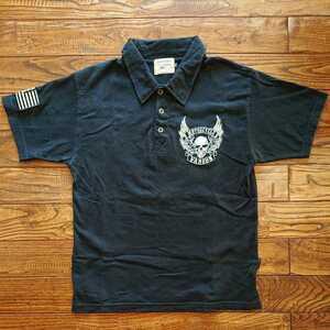 《美品》バンソン vanson スカルウイング総刺繍 半袖ポロシャツ S ブラック