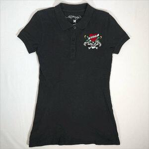 エドハーディー ED HARDY  ポロシャツ Mサイズ 刺繍 スカル ブラック 半袖 /507186831