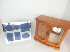 ● 小物入れ3段 ジュエリーボックス 木製 日本製 オルゴール いい日旅立ち レトロアンティーク POLA メタルフォトフレーム 写真立て
