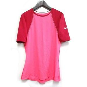 【中古】ナイキ NIKE PRO 半袖Tシャツ カットソー M ピンクX赤系 DRI-FIT ドライフィット スポーツウェア