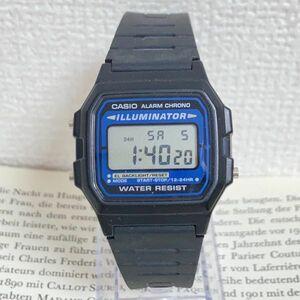 ★CASIO ILLUMINATOR デジタル 多機能 腕時計 ★カシオ イルミネーター F-105 アラーム8 クロノ ブラック スクエア 稼動品 F4848