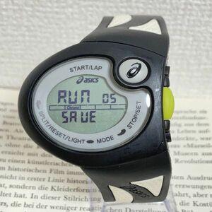★asics デジタル 多機能 腕時計 ★アシックス クロノグラフ ブラック 稼動品 F4858