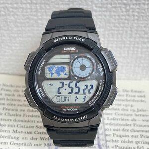 ★CASIO デジタル 多機能 メンズ 腕時計 ★カシオ AE-1000W アラーム クロノ タイマー グレー ブラック 稼動品 F4875