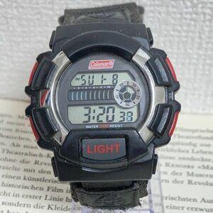 ★ COLEMAN デジタル 多機能 メンズ 腕時計 ★ コールマン 3針 アラーム クロノ ブラック 稼動品 F4943