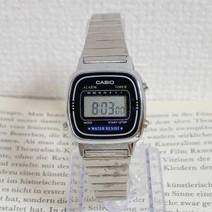 ★CASIO デジタル 多機能 腕時計 ★カシオ LA670W アラーム クロノ シルバー 稼動品 F4986
