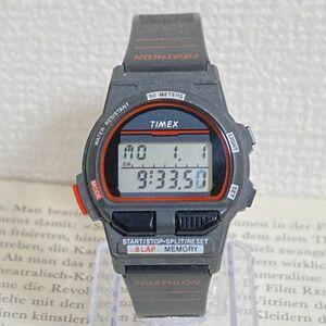 ★TIMEX TRIATHLON デジタル 多機能 腕時計★ タイメックス トライアスロン アラーム クロノ ブラック 稼動品 F5000