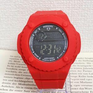 ★WIZE&OPE デジタル 多機能 腕時計★ ワイズアンドオープ アラーム クロノ タイマー レッド 稼動品 F5006