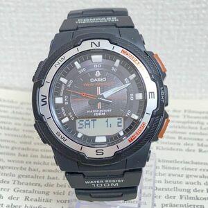 美品 ★CASIO THERMOMETER デジアナ 多機能 メンズ 腕時計 ★カシオ SGW-500H 3針 アラーム クロノ タイマー ブラック 稼動品 F5076