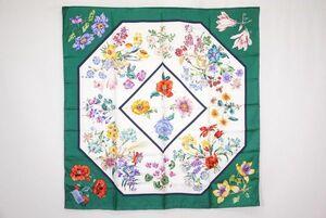 グッチ 88cm 大判 スカーフ シルク100% フローラ フラワー 花柄 ストール ショール 緑 グリーン 美品 GUCCI 5518k