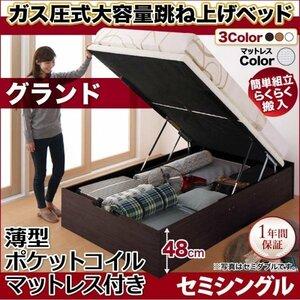 簡単組立らくらく搬入ガス圧跳ね上げ収納ベッド 薄型スタンダードポケットコイルマットレス付き 縦開き セミシングル 深さグランド