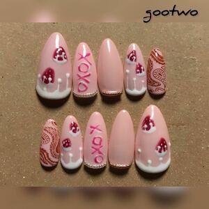 ネイルチップ ハンドメイド 苺 ピンク pink