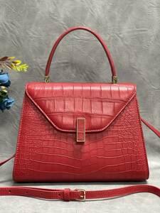美品 クロコダイル ワニ革 ハンドバッグ トートバッグ レディース鞄 ゴールド金具 手提げ バッグ ショルダーバッグ 可愛い かばん レッド
