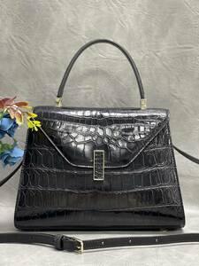美品 クロコダイル ワニ革 ハンドバッグ トートバッグ レディース鞄 ゴールド金具 手提げ バッグ ショルダーバッグ 可愛い かばん 黒