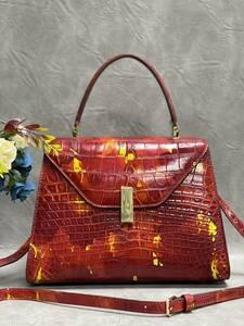 美品 クロコダイル ワニ革 ハンドバッグ トートバッグ レディース鞄 ゴールド金具 手提げ バッグ ショルダーバッグ かばん 綺麗色