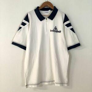 良品 le coq sportif ルコックスポルティフ ハーフジップ 半袖 ポロシャツ メンズ Lサイズ ホワイト ネイビー ゴルフ golf