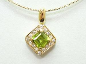 K18ペリドット、ダイヤペンダント 【新品】◆おかげさまで54周年祭!◆税込み超特価!送料サービス♪♪