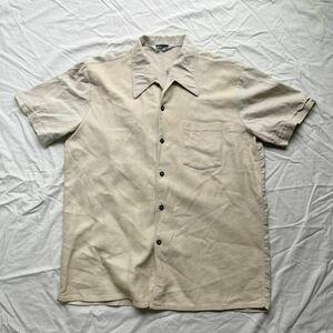 50s ビンテージ 半袖シャツ 開襟 オープンカラー 鹿の子シャツ ベージュ Lサイズ相当 BAUMWOLLE BUGELFREI 50年代