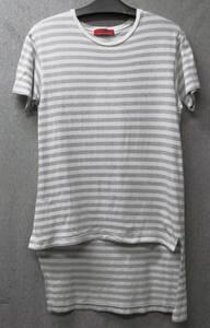 ワイズ フォーメン 赤ラベル:ボーダー柄 ロング Tシャツ ( レア ヴィンテージ ヨウジヤマモト Y's for Men Yohji Yamamoto Long Tee