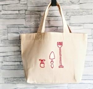 手刺繍の赤いガーデニング用具 キャンバスミニトートバッグ エコバッグ ランチバッグ 生成り 帆布 ハンドメイド