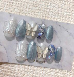 ネイルチップ 蝶々 韓国 青 夏 マグネットネイル シェル
