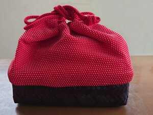 和装バッグ 巾着かごバッグ 和装小物 カラー 赤 昭和レトロ