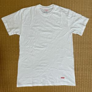 4回着用 Supreme x Hanes コラボ 裾box logo Tシャツ 白 レア ヘインズ Tee