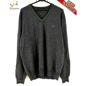 エトロ ETRO 長袖セーター サイズXL - 黒×グリーン メンズ Vネック トップス