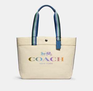 新品 COACH キャンバス トートバッグ レインボー トートウィズコーチ