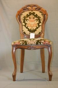 5・72★アンティーク ロココ調・猫脚・鋲打ち 金華山張り・英国製・ 椅子 チェア ・ 椅子はシッカリ安定