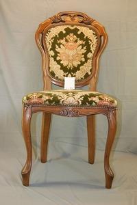 5・73★アンティーク ロココ調・猫脚・鋲打ち 金華山張り・英国製・ 椅子 チェア ・ 椅子はシッカリ安定