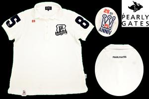 Y-2169★送料無料★美品★PEARLY GATES パーリーゲイツ★日本製 正規品 豪華な刺繍 ホワイト白色 鹿の子 ゴルフ 半袖 ポロシャツ 1