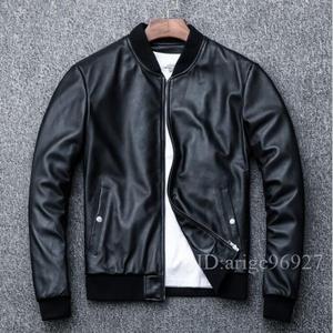 ★高級 本革 ラム革 上品 メンズライダース バイクジャケット レザー バイクウェア 革ジャン 黒  S~4XLサイズ選択
