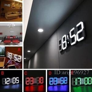 ★新作 壁掛け時計 インテリア デジタル ウォールクロック 選べる4色 LED Digital Numbers Wall