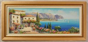 額装油絵 額装絵画 肉筆絵画「地中海風景 B」横長 WF6サイズ (絵寸318X820)-新品-特価-即決-