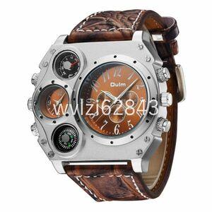 RA043:Oulm メンズ腕時計高級ブランド腕時計デュアルクォーツムーブメントスポーツ軍事腕時計コンパス温度計装飾レロジオ ma