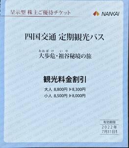 南海電気鉄道 株主優待 四国交通 定期観光バス割引券(1~2枚)