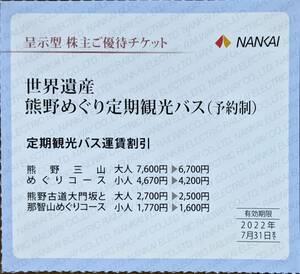 南海電気鉄道 株主優待 世界遺産熊野めぐり定期観光バス割引券(1~2枚)