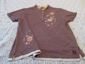 Y)■【Danzing】■薄茶系/肌触りの良い綿35%混■和柄アップリケ&刺繍/ピコレース&裾2段■お洒落なポロシャツ