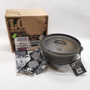 LODGE CAST IRON ロッジキャスト 脚付きダッチオーブン USA 10CO2 10インチ キャンプオーブン 深型 鍋 アウトドア 未使用保管品#7764