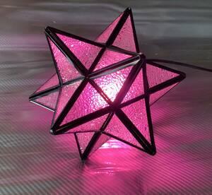 【ステンドグラス ペンダントランプ】★ピンク 星型ペンダントライト 照明 ランプ インテリア インダストリアル シーリングカバー付属