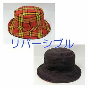 ハット リバーシブル 帽子 オレンジチェック ブラウン バケットハット サファリハット 日除け