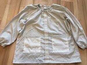 ●ハンドメイド●ワイシャツリメイクスモック 長袖 ストライプ柄 小学校 図工 習字 男の子
